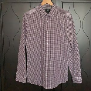 H&M Burgundy Gingham Long Sleeve Button-up Shirt